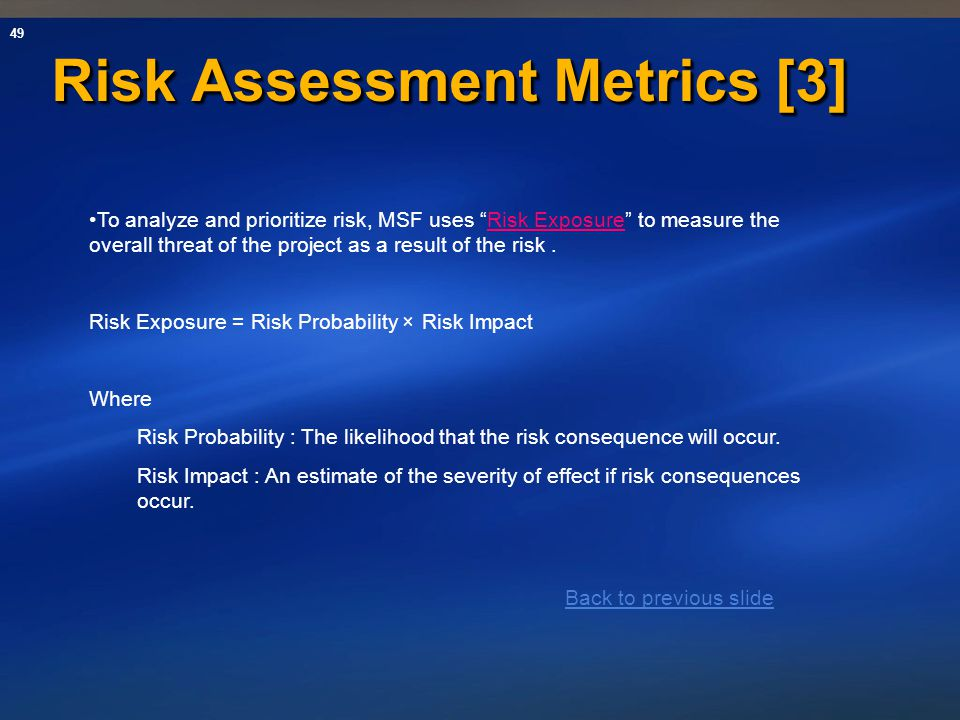 Risk Assessment Metrics [3]